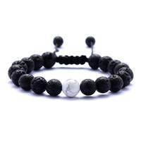 schwarze männer schmuck großhandel-Natürliche Türkis Schwarz Lava Stein Weben Armbänder Aromatherapie Ätherisches Öl Diffusor Armband Für Frauen Männer schmuck