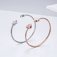 Wholesale 18k gold bangles stars for sale - Group buy 316L Titanium Heart Bracelet Fashion K Rose Gold Bracelet Titanium Steel Star Ms Bracelet Women s Bangle