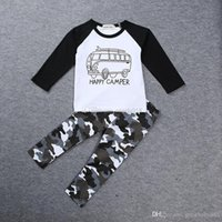 Wholesale t shirt cars baby - INS Boys Casual Clothes Baby cartoon car Tops Letters T-shirt+Geometric Camouflage pants 2pcs set cotton suit free shipping C1434