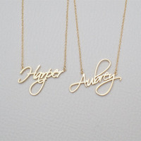 Wholesale customized chains resale online - Name Necklace Personalized Gift Customized Pendant Cursive Handwriting Stainless Steel Chain Custom Women Fashion Jewelry X912