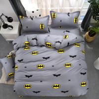 Wholesale batman bedding resale online - Cartoon Batman Duvet Cover Grey Bedding Set Kids Bedding Single Double Queen King Size Bed Sheets Bedclothes Bedclothes