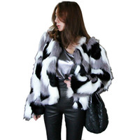 Wholesale Winter Coat Women Small - Chic Winter Women Warm Faux Fur Coat Women Vintage Mink Fox Simple fashion camouflage High Waist Jacket Hit color Faux Fur Bomber
