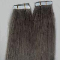 33 613 волос оптовых-#1 #2 #4 #6 #8 #27 #33 #613 серебристо-серый расширение ленты 100 г ленты в человеческих волос расширения 40 шт. прямой кожи уток ленты расширения серый