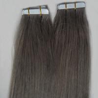 33 613 cabello al por mayor-# 1 # 2 # 4 # 6 # 8 # 27 # 33 # 613 Extensión de la cinta de plata gris 100g Cinta de las extensiones de cabello humano 40pcs Extensiones de la cinta de trama de piel recta gris