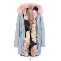 ingrosso luci di gelato-Nuovo arrivo JAZZEVAR marchio Donna cappotti invernali Gelato colore pelliccia di volpe fodera luce blu lungo parka rosa pelliccia di procione trim