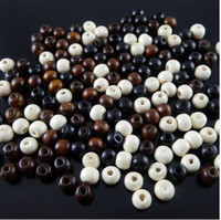 Wholesale beads brown 8mm resale online - pack Mixed Colors White Black Brown Wood Beads mm spacers fine jewelry making fit necklacebracelet gr