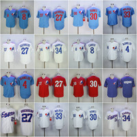 Wholesale Free Tim - 2017 Stitched Men's Montreal Expos 27 Vladimir Guerrero 30 Tim Raines 34 Bryce Harper 4 Delino Deshi 8 Carter Baseball Jerseys Free Shipping