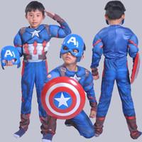 ropa de pvc para niñas al por mayor-Juegos de rol Disfraces de Halloween Avengers Alliance chid muscle capher superhéroes ropa de cosplay Capitán Americe para niños niños niñas S-L