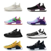 Wholesale women canvas sneakers - Human Race Running Shoes pharrell williams Hu trail Cream Core Black nerd Equality holi nobel ink trainers Mens Women Sports sneaker