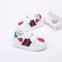 Wholesale small girl slip resale online - 2018 Summer New Pattern Korean Children Girl Small Trend Striped Patchwork Love Genuine Leather Children s Shoes White Casual Shoes
