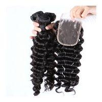 derin kıvrık saç örgüsü toptan satış-4 * 4 inç Malezya Derin Dalga Dantel Kapatma Ile 3 Adet İnsan saç Dokuma Paketler 4 adet Lot 100 Işlenmemiş Kıvırcık Saç Uzantıları LaurieJ Saç