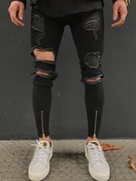 Wholesale Taper Pants Man - 2018 New Men's Denim Distressed Jeans Washed Stretchy Tapered Leg with Holes Ripped Jeans HIp Hop Vintage Zipper Pancil Trouser