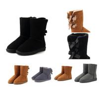 zapatos genuinos de la mujer zapatos de cuero al por mayor-2018 Mujeres de invierno Botas de nieve Moda genuina de cuero de gamuza Australia Classic Keep Warm Winter Brand Shoes botas de diseñador de lujo