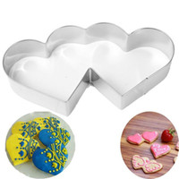 Wholesale heart cookies cutter resale online - Lovely Double Heart Cookies Cutter Cake Sweet Love Cake Pastry DIY Mould Baking Tools Stainless Steel Metal Tools Supplies