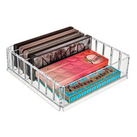 acryl make-up-organisatoren großhandel-Klaren Acryl Make-up Veranstalter Kosmetische Aufbewahrungsbox Make-Up Powder Box Desktop Frauen Lippenstift Halter Pinsel Veranstalter