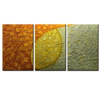 panneau d'art mural d'or achat en gros de-3 panneaux peints à la main 3D peinture à l'huile sur toile Gold Art moderne abstrait coloré Art mural pour salon chambre Hallyway maison moderne Offi