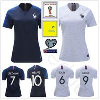 Wholesale Custom Kids Shirts - 2018 World Cup Women France Soccer Jersey GRIEZMANN POGBA MARTIAL CABAYE GIROUD KANTE MBAPPE Custom Woman Men Kids Youth Football Shirt