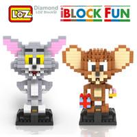 ratón de dibujos animados al por mayor-LOZ Tom and Jerry Asamblea Toy Cat Mouse Diamond Blocks iBlock Fun Classic Cartoon 8+ 9446 9445 Fiesta de cumpleaños Suministros de juguete