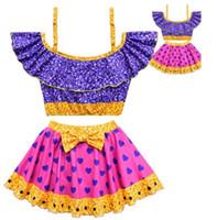 Wholesale two cosplay online - Baby Girls Two Piece Swimwear Cartoon Girls Kawaii Halloween Party Cosplay Costume Swimwear Bikini Summer Ruffle TUTU Bathing Suit FFA910