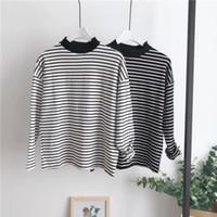 модная футболка оптовых-Черно-белый полосатый с длинными рукавами 2018 зимняя мода полиэстер материал тонкий девушка BTS рубашка лучшие друзья Майка
