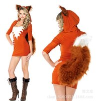 Wholesale adult fox halloween costumes online - 2016 New Arrival Halloween Costumes For Women Fox Cosplay Adult Sexy Costume Short Bodycon Dress Fantasias Adulto Feminino WL75