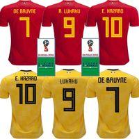 jersey amarillo rojo al por mayor-HAZARD LUKAKU MERTENS Camiseta de fútbol Bélgica Home roja 18 19 VERMAELEN DE BRUYNE NAINGGOLAN 2018 Copa del mundo Bélgica camiseta amarilla de fútbol