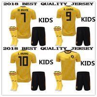 Wholesale Custom Kids Shirts - 2018 2019 Belgium AWAY KIDS KIT World Cup yellow Soccer Jersey KOMPANY DE BRUYNE E.HAZARD LUKAKU FELLAINI Custom Football Shirt