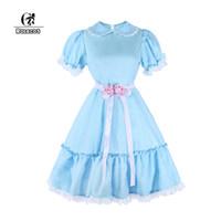 vestidos de ropa victoriana al por mayor-ROLECOS Blue Chiffon Lolita Dress Mujeres Encaje Vestido dulce Renaissance Victorian Christmas Princess Party Clothing