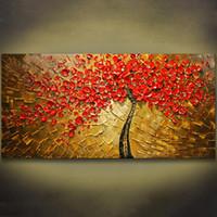 kırmızı oda sanatı toptan satış-Çerçevesiz Paneli Wall Art Palet Bıçağı El Boyalı Kırmızı ağaç Çiçek Yağlıboya Oturma Odası Için Tuval Duvar Resimleri Boyama