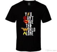 roupa da liga venda por atacado-Liga da justiça você não pode salvar o mundo sozinho impressionante logotipo camiseta estilo verão roupas casuais
