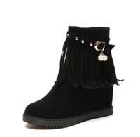 saçak paçalı ayak bileği botları toptan satış-Pu deri fringe martin çizmeler kadın ayak bileği çizmeler takozlar püskül patik platformu düz bayanlar kısa çizmeler ayakkabı zx887