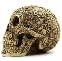 Wholesale resin skulls - Creative Resin Skull Cranium Cluster of flowers Ornaments Halloween Home Bar Desktop Decoration Crafts Fashion top hot