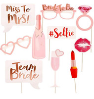 Wholesale bride glasses - 10PCS set Team bride Bride to be Photo Booth Hen Party PhotoBooth Props Hen Night Out Bachelorette Party Decoration paper glasses