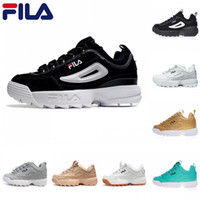 Wholesale black gold football boots for sale - 2018 New Arrival white black grey yellow Fila II S Women men FILE special section sports sneaker running shoes increased shoes