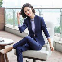 69321df9d273 New fashion pants suits set women Business slim long sleeve blazer with pants  office ladies plus size Interview work wear plus size 5XL 6012