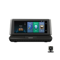 ingrosso touch screen per cruscotto auto-Dashboard da 8 pollici Touch screen smart 4G Android wifi GPS Full HD 1080P auto dvr Registratore video Dual Lens Registrar Dash cam ADAS auto fotocamera dvr
