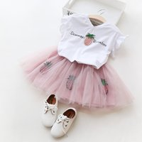 Wholesale Fruit T Shirts - Summer Baby Girl Clothes Clothing set Lovely Butterfly Sleeve T-Shirt Fruit Pineapple Sequins TUTU Skirt Outwear
