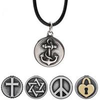 ingrosso gioielli di ancoraggio per le donne-Moda Anchor Cross Love Lock Collane con ciondolo in acciaio inox Gioielli per le donne Collana con catena di corda in pelle con confezione regalo