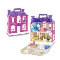 muebles musicales al por mayor-Juguetes de bricolaje Casa de muñecas con música Accesorios de luz LED Muebles en miniatura Modelo de casa de muñecas musical Juguete para niñas Regalo