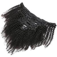 extensiones de pelo rizado afroamericano al por mayor-120g 8pcs por juego 4a 4b 4c Afro Kinky Curly Remy Hair Clip en extensiones Clip de cabello humano brasileño ins para afroamericanos