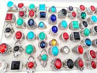 vintage stil hochzeit ringe großhandel-Großhandelsmischungs-Art Mens Womens Weinlese-Schmucksache-Ring-Türkis-Stein-Glasring-Hochzeitsfest-Geschenk-Ringe