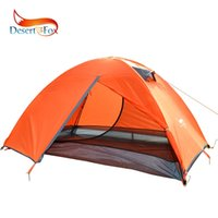 Wholesale space travel online - Desert Fox Sunshine Double Layer Tent Person Orange Green Camping Tent Large Space Breathable Waterproof Portable Travel