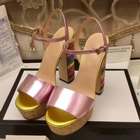 Wholesale Rainbow Sandals Shoes - New Arrival Fashion Summer Rainbow Chunky high heel lady Sandals with top quality Luxury brand High-end genuine leather women party shoes