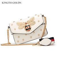 0bfddd466 KINGTH GOLDN Bolso de mensajero de las mujeres de la perla de la manera  Marca de cuero de la PU Bolso de hombro femenino de la abeja linda Bolso de  las ...