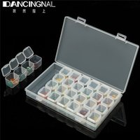 Wholesale clear plastic jewelry boxes cases - Wholesale- Storage Box Plastic Detachable 28 Slots Nail Art Tools Jewelry Beads Display Storage Box Case Organizer Holder Clear