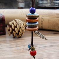 ingrosso braccialetto cinese di porcellana-Braccialetto in ceramica onda retrò stile cinese lungo tessuto a mano stile etnico lascia perline in porcellana fai da te creativo regalo di moda all'ingrosso di gioielli