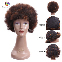 Wholesale synthetic curly hair wefts - Short Hair Wigs Afro Kinky Curly Synthetic Short hair Wigs Perruque African American Women Synthetic None-Lace Wigs from Hair wefts