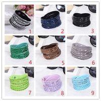 Wholesale Rhinestone Slide Bracelets - 2018 New Leather Bracelet Rhinestone Crystal Bracelet Wrap Multilayer Bracelets for women feminino pulseras mulher Jewelry
