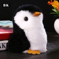 mascote real venda por atacado-Mini Pinguim Chaveiro Saco de Animais De Pele Natural Encantos Real Rex Fur Car Chaveiro Genuine Coelho Toy Boneca Mascote Titular Chave 14 cm