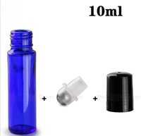 Wholesale essential blue glass bottle resale online - 10ml Blue Glass Roll on Bottle Glass Essential Oil Bottles Wih Metal Roller Ball Aromatherapy Glass Vials DHL